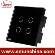 Interruptor táctil simple de 4 teclas y control remoto negro