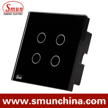 Interruptor de toque simples e controle remoto de 4 teclas preto