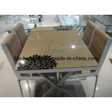 Popular de venda nova mesa de jantar de vidro moderno