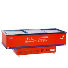 800L Schiebetür Flat Cabinet Island Gefrierschrank für Supermarkt