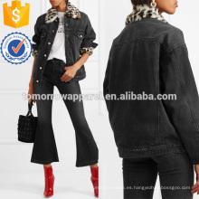 Faux Fur-trimmed Denim Jacket Jacket Manufacture Venta al por mayor Moda Mujeres Ropa (TA3029C)