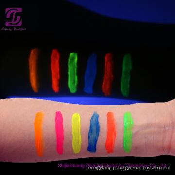 Brilho UV na pintura facial de corpo escuro