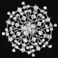 Hot Sale Silver Plated Beautiful Flower Rhinestone Brooches for wedding party bridal jewelry