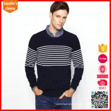 Suéter hecho punto rayado blanco y negro de las rayas verticales del nuevo mens de la manera