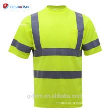 Camisetas de seguridad personalizadas de alta visibilidad Clase 2 Camiseta de seguridad reflectante de alta visibilidad amarillo de manga corta Ropa de trabajo de trabajo fluo de Fluo