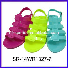 SR-14WR1327-7 ladies pvc sandasl plastic shoes sandals flat heel jelly sandals wholesale jelly sandals