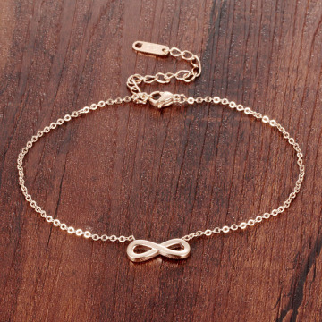 Stainless steel 14 k rose gold infinity ankle bracelet