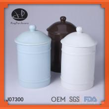 Botella de almacenamiento, recipiente de cerámica vidriada de color con tapa, tarro de cerámica con tapa