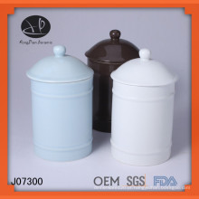 Garrafa de armazenamento, lata de vidro cerâmico de cor com tampa, frasco cerâmico com tampa