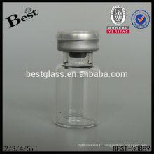 5 ml rond bouteille de pénicilline en verre clair avec double caps, bouteille en verre chimique, pharmaceutique petit fournisseur de bouteille en verre, oem