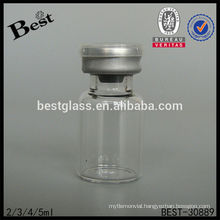 5ml round clear glass penicillin bottle with double caps, chemical glass bottle, pharmaceutical small glass bottle supplier, oem