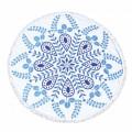 Hot sale white blue pattern Round Beach Towel RBT-180