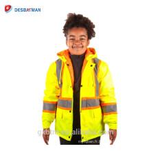 Enfants enfants salut vis réfléchissante sécurité à la mode pêcheur imperméable veste de pluie parka en jaune