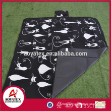 New design easy carrying printed polar fleece picnic blanket