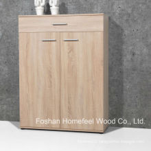 Simply Wooden Home Furniture Shoe Cabinet with 2 Door & Drawers (SC05)