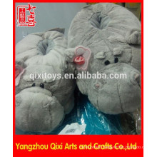 Factory made cute animal shape slippers plush hippo slippers