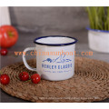 Sunboat Blue Rim Good Price Customized Enamel Mugs Enamel Metal Cup Tableware