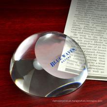 Peso de papel de vidro claro ótico da abóbada do paperweight da bola K9 meio paperweight