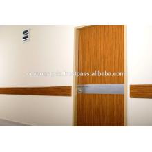Porte revêtue en stratifié pour hôpitaux avec plaque inoxydable Steick Kick et Stretcher