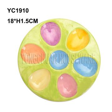 Bandeja de huevo pintada a mano de cerámica
