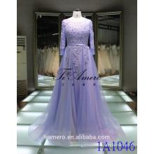 1A1046 романтический светло-фиолетовый 3D цветы аппликация из бисера с длинным рукавом створки открытой спиной невесты платье выпускного вечера платье вечернее платье