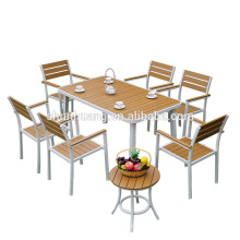 outdoor wood furniture plastic wood table and chair patio dining sets