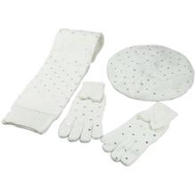Miúdos das crianças meninas quente cachecol de lenço de folha de boina de prata set lenço de malha (sk420s)