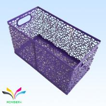 Triangular shaped purple metal wire mesh storage rack basket for home