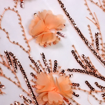Tulle dentelle broderie florale orange