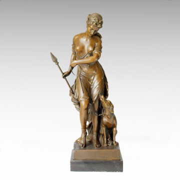 Classical Figure Statue Lady Diana Dog Bronze Sculpture TPE-169