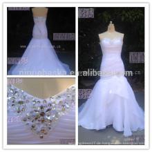 Echtes Foto-Meerjungfrau-Schatz-Organza mit Rüschen besetztes Hochzeits-Kleid mit dem Bördeln schnüren sich oben Verschluss Weddng Gown2015 Heißer Verkauf