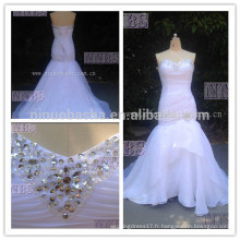 Real Photoes Mermaid Sweetheart Organza Ruched Robe de mariée avec perlage en dentelle Weddng Gown2015 Hot Sale