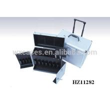 Caisse de chariot de coiffeur portable en aluminium avec une poignée extensible 2 roues wholesales