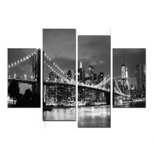 Impressão preto e branco da arte da cena da noite / Impressão De Canvas Envolvida
