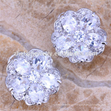 Brincos de flor de cor branca brincos de flor de zircônia cúbica brincos de excelente qualidade
