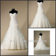 Real Photos Elegant Free Shipping Custome Made A-line Floor Length Sweetheart Tulle Sleeveless Wedding Dresses 2013