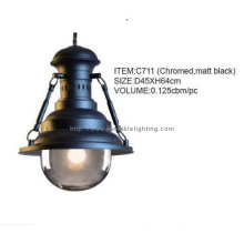Contemporary Chromed Matt Black Pendant Lighting