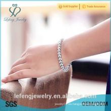 Joyas de regalo de año nuevo de alta pulido platino plateado brazaletes de diamantes
