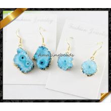 Joyería al por mayor azul turca de los pendientes azules de Druzy (FE072)