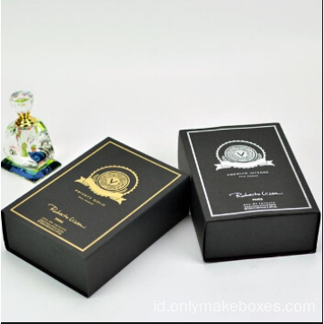 Black Luxury Paper Perfume Packaging Box dengan Magnet