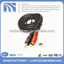 Macho para macho 3.5mm para 2rca AV cabo estéreo para computador / VCD / DVD / HDTV / MP3