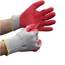 NMSAFETY guantes resistentes al corte de látex rojo recubrimiento de arrugas