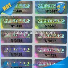Confiable proveedor de la etiqueta de holograma de impresión de número de serie