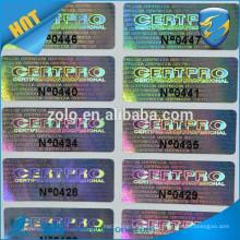 trustworthy supplier of serial number printing hologram sticker