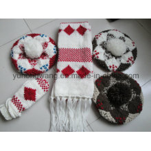 Customized Winter Knitted Acrylic Warm Set