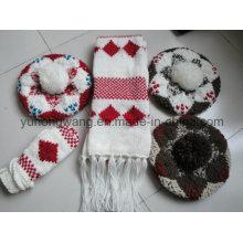 Personalizado inverno malha acrílico quente conjunto