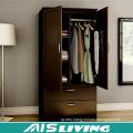 2 Door Steel Bedroom Wardrobe Cabinet with Inside Drawer Design (AIS-W457)