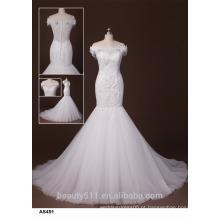 Sweetheart A-line Vestido de noiva de manga tapada Vestido de noiva com piso de comprimento TS163