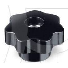 Perilla de lóbulo de baquelita de perno de metal negro / rojo