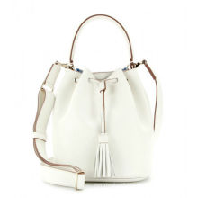 White Crossbody Leather Bags Gionar Handbag , Leather Bucket Bag With Decorative Tassels